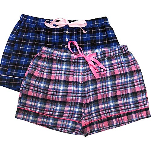 Bottoms Out Womens Ladies Pajama Sleep Shorts PJ's 2PK Flannel - Flannel Shorts Boxer