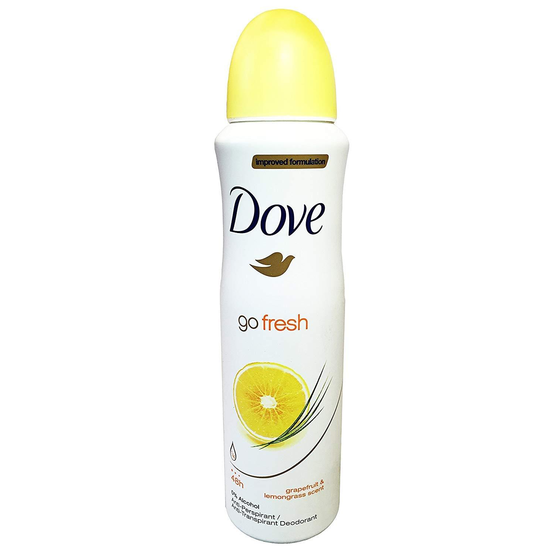 Dove Go Fresh Grapefruit & Lemongrass Antiperspirant Spray Deodorant for Women 150 ml (Pack of 10) + Our Travel Size Perfume