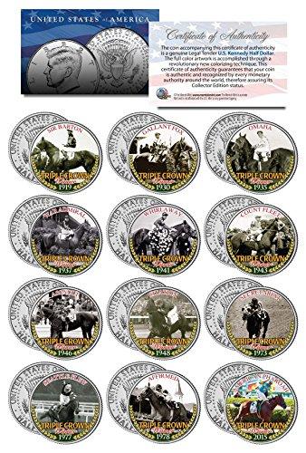 TRIPLE CROWN WINNERS Thoroughbred Horse Racing JFK Half Dollar U.S. 12-Coin Set (The Horse Coin)