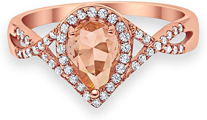 Size-8 Blue Apple Co Three Piece Halo Art Deco Wedding Band Engagement Ring Oval Simulated Morganite Round Cubic Zirconia 925 Sterling Silver