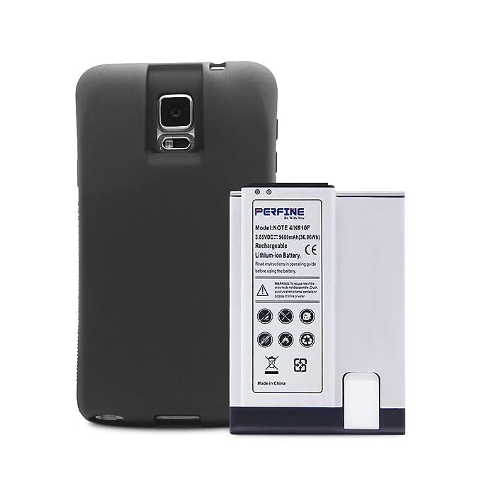 Perfine Reemplazo Batería para Note4 9600mAh N910/N910F/N910H l i-ion Batería con [Caso de TPU de protección de borde completo] con NFC