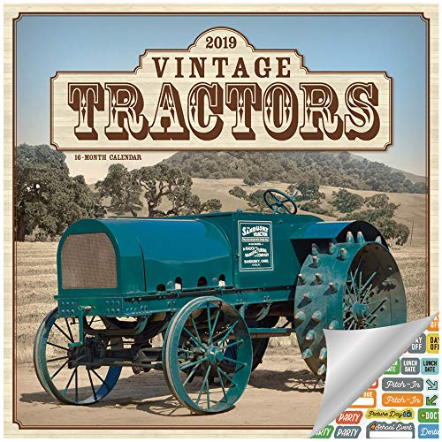 Vintage Tractors Calendar 2019 Set - Deluxe 2019 Tractors Wall Calendar with Over 100 Calendar Stickers (Vintage Tractors Gifts, Office Supplies)