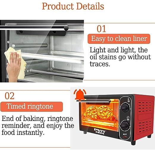 Mini horno eléctrico doméstico 12L 1500W, máquina para hornear pan acero inoxidable, tostadora pan cocina la vida hogareña, fabricante pasteles pizza, el tiempo la temperatura se pueden controla: Amazon.es: Deportes y aire