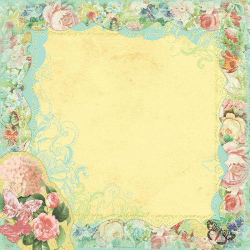 Prima 813307 12 by 12-Inch Art Stitched Mulberry Paper, Teal Floral Boarder Art Stitched Mulberry Paper