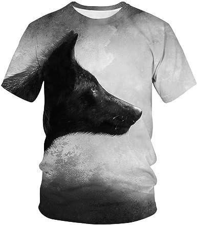 Camiseta Estampada En 3D Camiseta De Dibujos Animados con Estampado De Lobo Y Manga Corta para Hombre: Amazon.es: Ropa y accesorios
