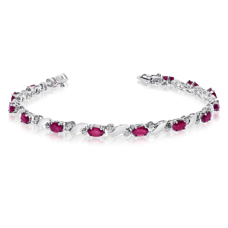 14k White Gold Natural Ruby And Diamond Tennis Bracelet (7 Inch Length)