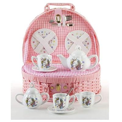 Delton Porcelain Unicorn Tea Set in Basket: Toys & Games