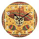 SUABO Home Decorative Desk Clock Round Wall Clock 9.5 inch with Mexican Skull Printed Clock