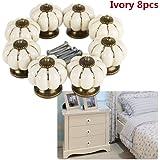8pcs Round Ceramic Vintage Pumpkin Knobs Door Handle Pull with Screw for Cabinet Drawer Door Cupboard Wardrobe Locker Closet (Ivory)