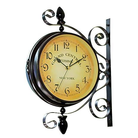 VORCOOL Reloj de pared de doble cara vintage Hierro Silencioso Tranquilo Estación de Grand Central Central ...