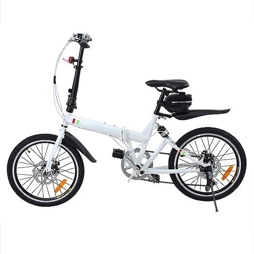Ridgeyard Bicicleta Plegable 20 Pulgadas de 6 velocidades Bici Plegable + Luz de la batería del LED + Asiento Bag + Bell de la Bici (Blanco): Amazon.es: ...