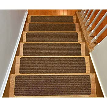 carpet stair treads bullnose with landing mat collection set indoor skid slip resistant brown tread how to lay on only
