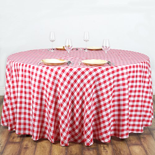 Efavormart 108'' Round RED/WHITE Checkered Wholesale Gingham Polyester Linen Picnic Restaurant Dinner Tablecloth by Efavormart
