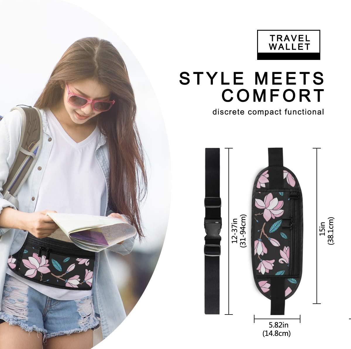 Travel Waist Pack,travel Pocket With Adjustable Belt Pattern Blossoming Magnolia Flowers Running Lumbar Pack For Travel Outdoor Sports Walking