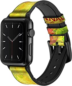CA0358 Canada Autumn Maple Leaf Leather & Silicone Smart Watch Band Strap for Apple Watch iWatch Size 42mm/44mm