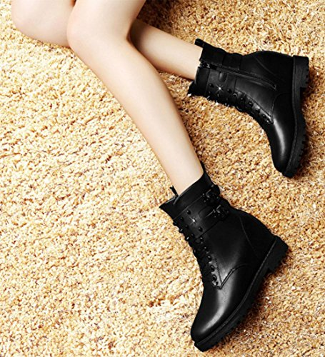 KUKI Herbst und Winter Frauen Stiefel Martin Stiefel Nieten Frauen Stiefel mit runden Kopf hohe Stiefel billig Frauen Stiefel schwarze Stiefel black