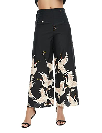 f7787c1b22 2017 New Fashion Ladies Wild Crane Dress Skirt Pants Wide Leg Boho Pants (S)