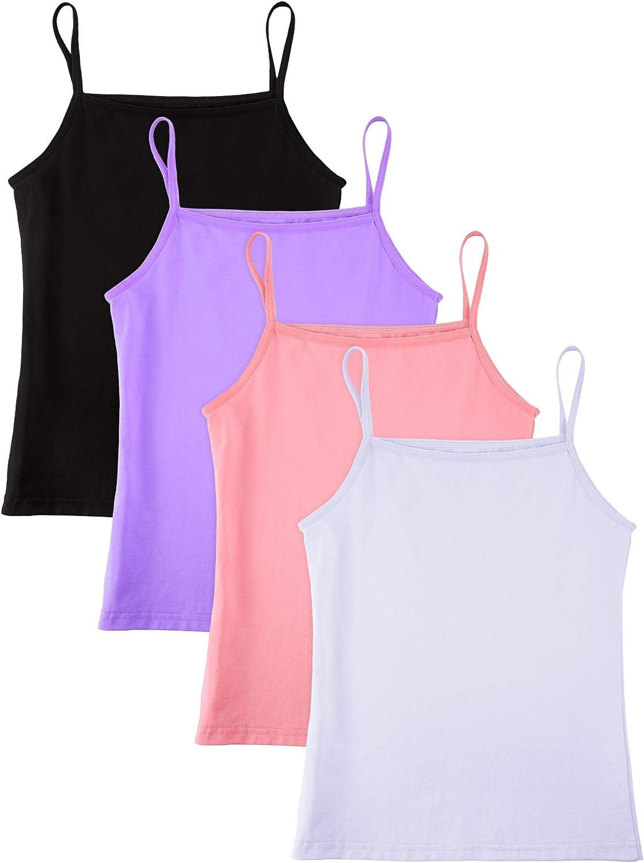SATINIOR 4 Pieces Girls Dance Tank Top Sleeveless Spaghetti Strap Crop Tank Top for Dancewear