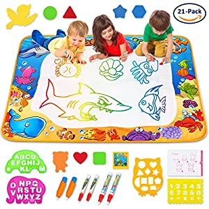 Toyk AquaDoodle Drawing Mat - Kids Painting Writing Doodle Board Toy - Color Aqua Magic Mat 3 Magic Pens Educational Toys for Age 1 2 3 4 5 6 7 8 9 10 11 12 Year Old Girls Boys Toddler Gift