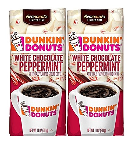 (Dunkin Donuts White Chocolate Peppermint Ground Coffee, 11 oz (2 PACK))