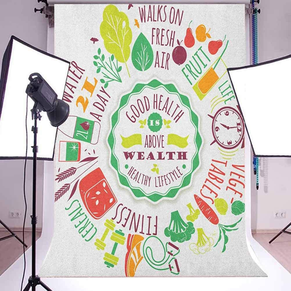 9x16 FT Fitness Vinyl Photography Backdrop,Good Health is Above Wealth Wellness Motivation Water Fruits Fitness Walk Cereals Background for Baby Birthday Party Wedding Graduation Home Decoration