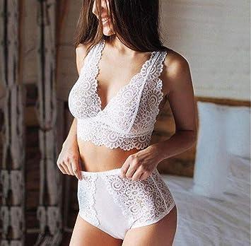 MYYDD Ropa Interior Sexy de Las Mujeres, Ropa Interior Sujetador Shorts Traje, lencería de Encaje,White,XXXL: Amazon.es: Hogar