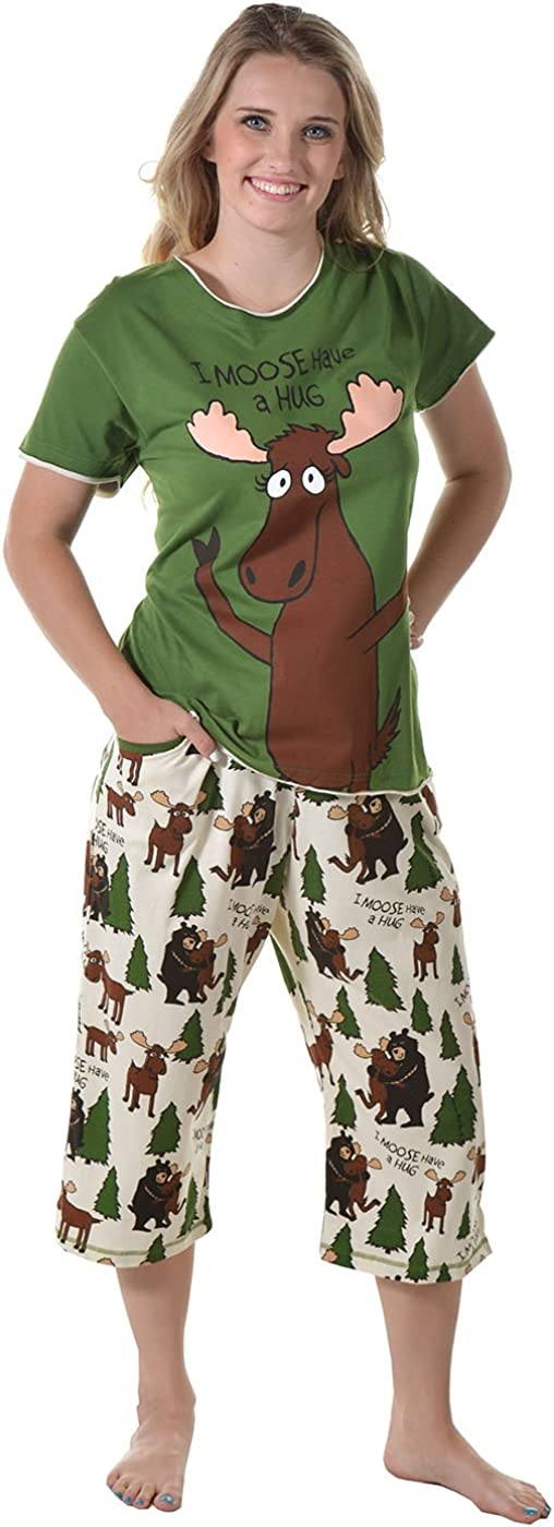 Cute Womens Animal Saying Pajamas Womens Capri Pajama Set and Separates by LazyOne