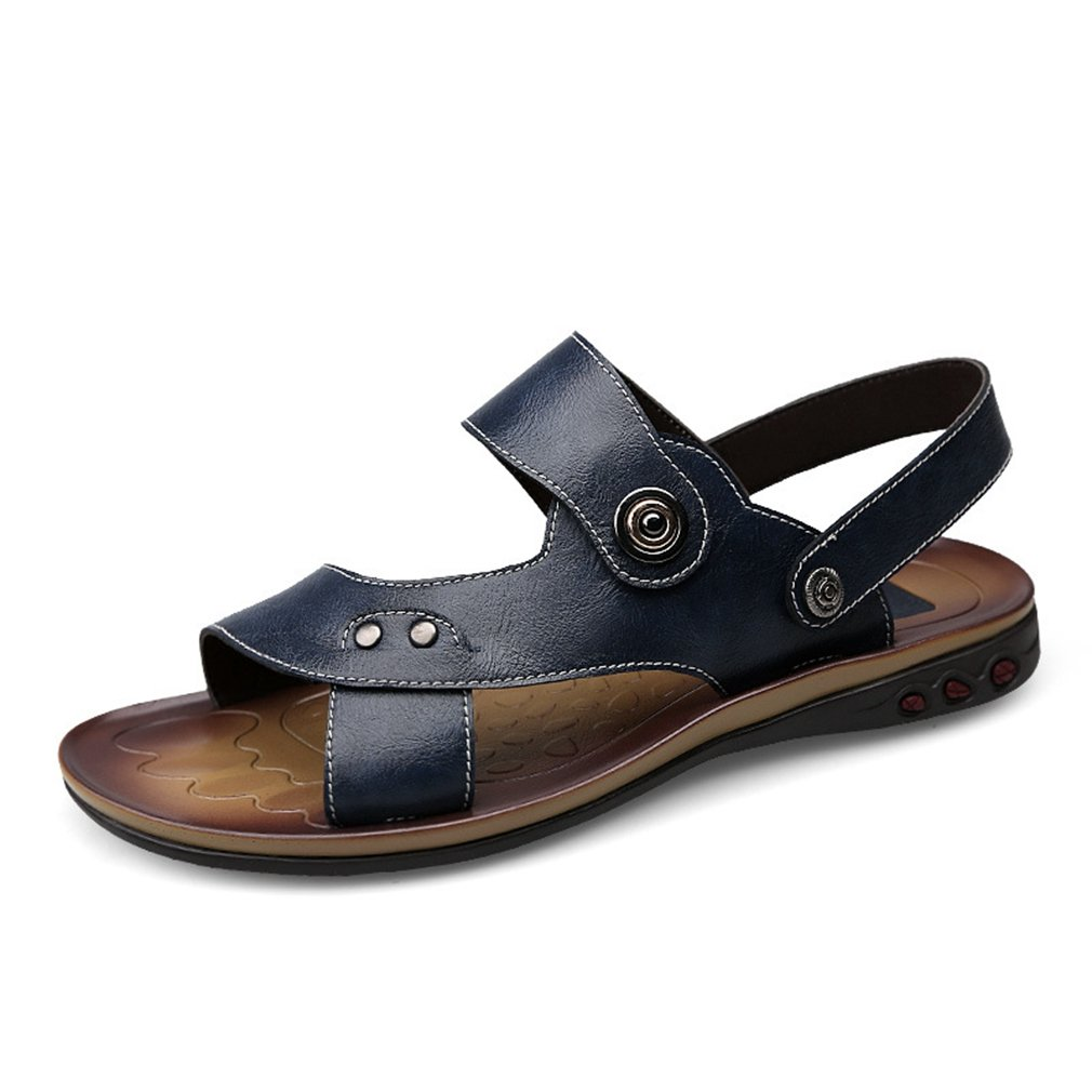 U-MAC Men's Leather Sandals Summer Outdoor Fisherman Open Toe Breathable Sports Sand Beach Slippers