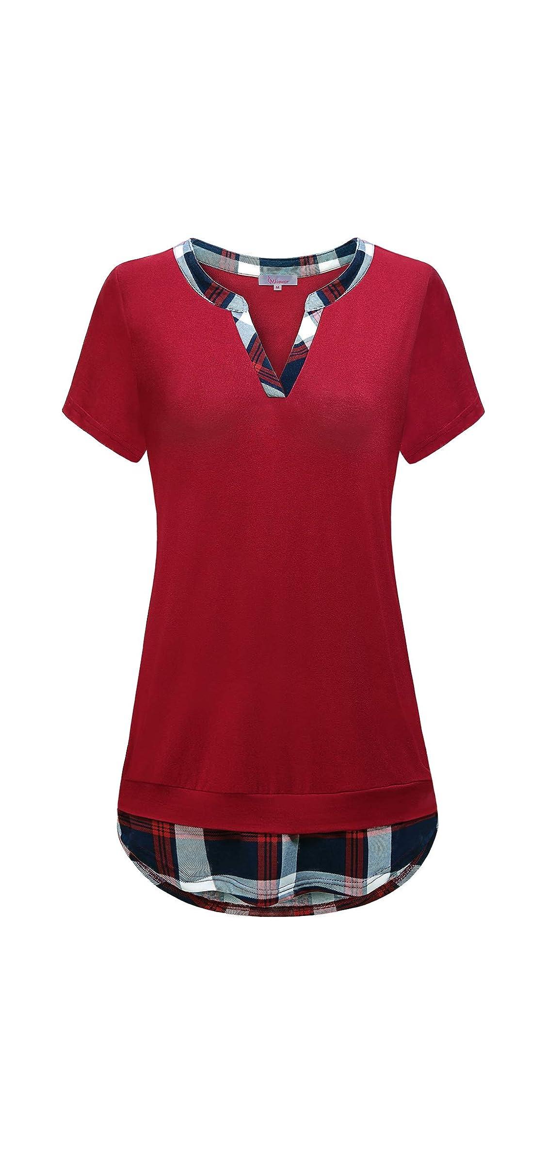 Women V Neck Tunics Shirt Short Sleeve Patchwork Blouse