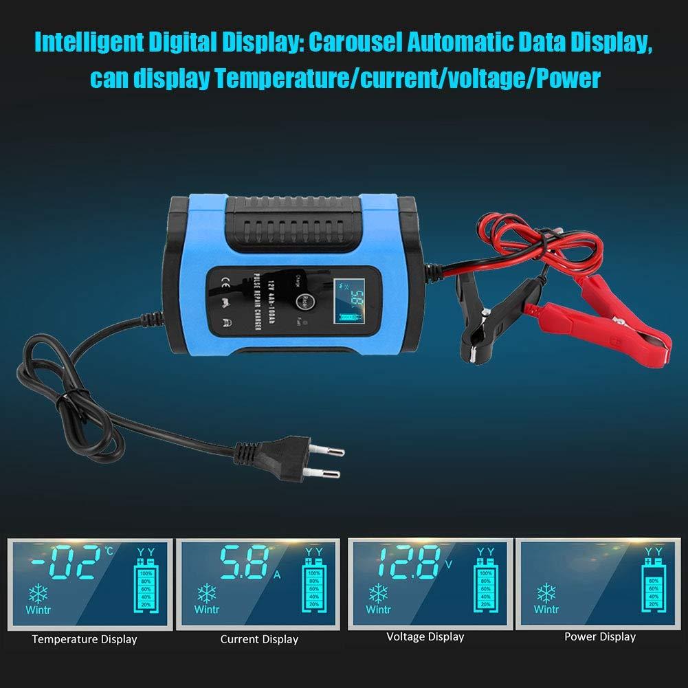 Qii lu 12V 6A Cargador de bater/ía de Coche Reparaci/ón de motocicleta Pantalla LCD Completamente inteligente Cargador de bater/ía Azul UE