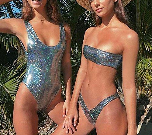 HAHASOLE Womens Metallic Glitter One Piece Bikini Sexy Mermaid Liquid Thong Monokini Sequin Sparkle Shiny Swimwear (Silver, S) by HAHASOLE (Image #2)
