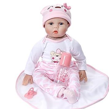 00816fa0b46f9 Per Poupon Bébé Reborn Silicone Poupée Réaliste avec Cheveaux Vrai Bébé  Fille Garçon Reborn Baby 22in