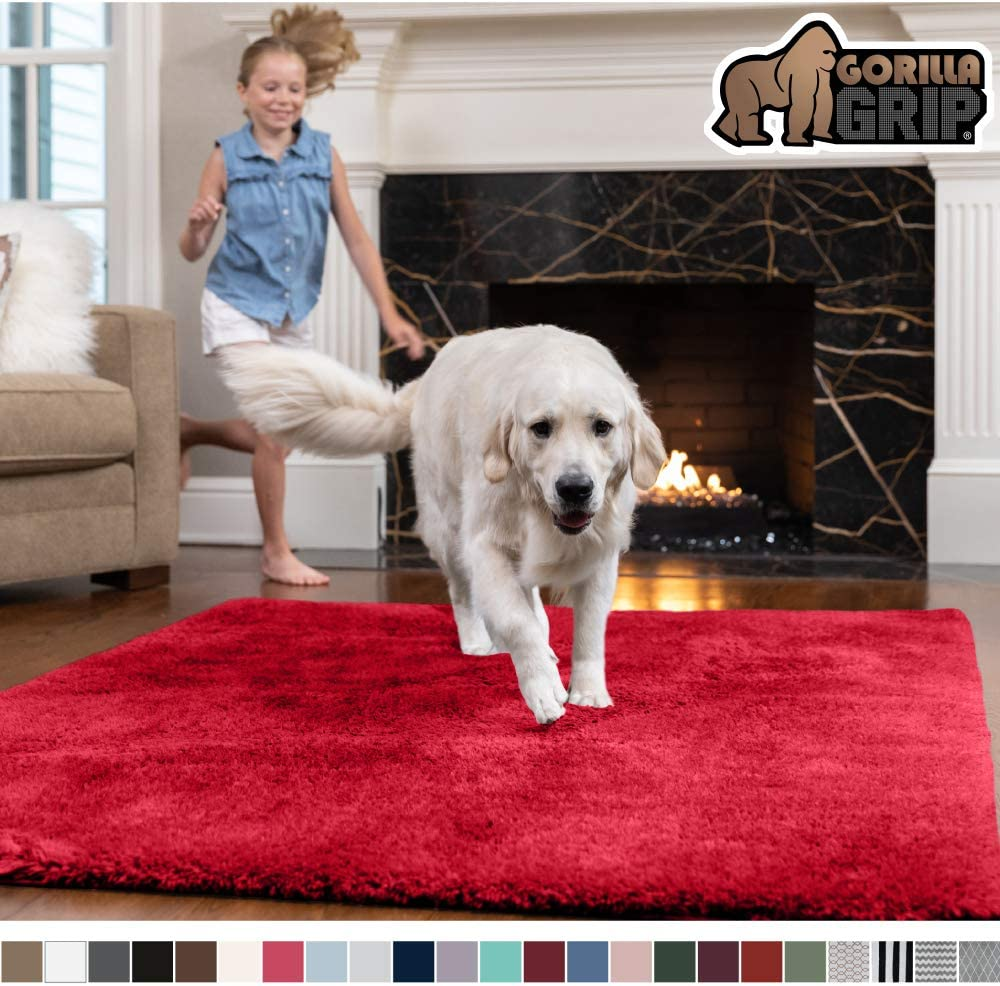 Gorilla Grip Original Faux-Chinchilla Area Rug, 7.5x10 Feet, Super Soft and Cozy High Pile Washable Carpet, Modern Floor Rugs, Luxury Shag Carpets for Home, Nursery, Bed and Living Room, Red