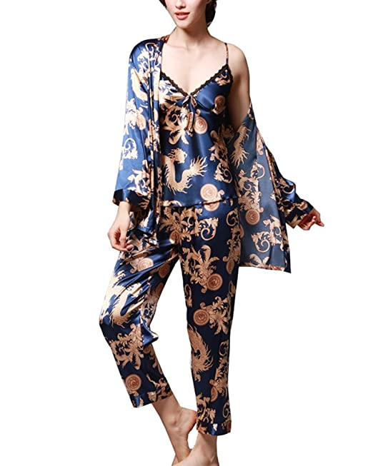 Mujer Pijamas 3-In-1 Camisones Satén Patrón Impreso Manga Larga Pantalones Satin Pijamas