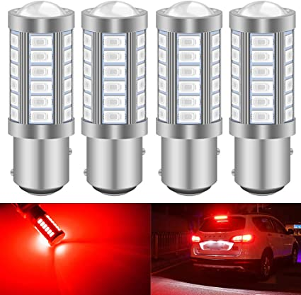 2x BAY15D 1157 White Car Tail Stop Brake Light Super Bright 33SMD LED Bulb 12V W