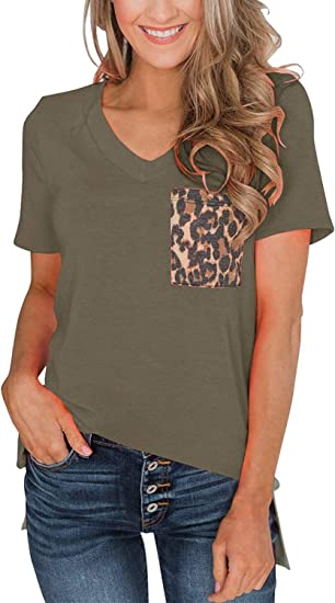 Women Sequin Sleeve Tee Casual Shirts Stitching Color Block V-Neck Short Sleeve Tops