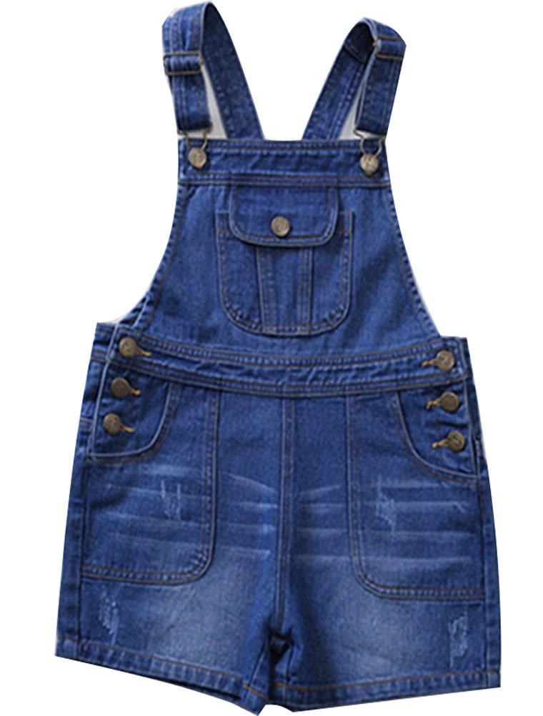Mallimoda Girls Denim Shortalls Jeans Romper Overalls Style 2 Dark Blue 11-12 Years by Mallimoda