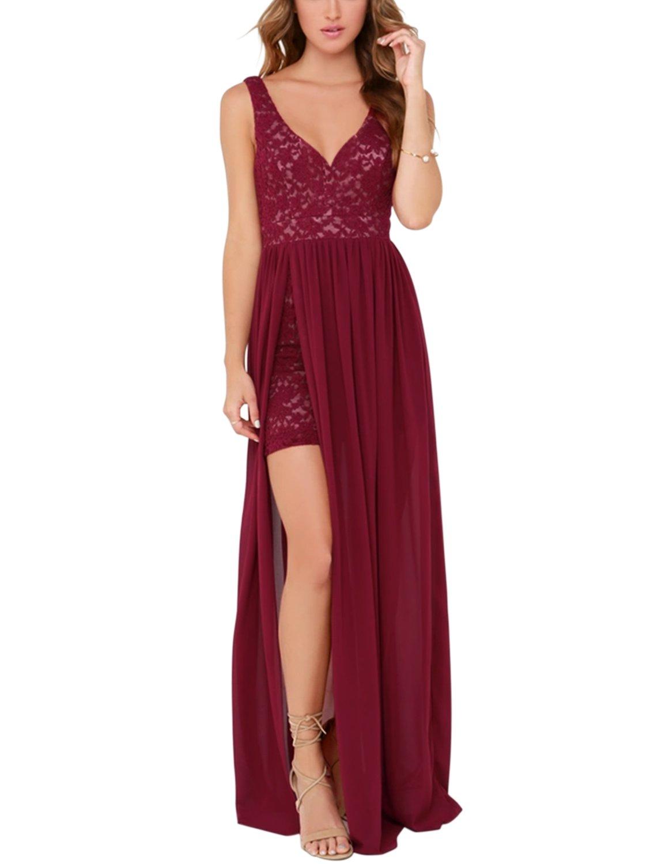 Blooming Jelly Womens White Sleeveless Deep V Neck Backless Lace Chiffon Bodycon Summer Maxi Dress (Medium, Red)