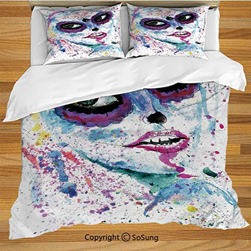 Girls Queen Size Bedding Duvet Cover Set,Grunge Halloween Lady with Sugar Skull Make Up Creepy Dead Face Gothic Woman Artsy Decorative 3 Piece Bedding Set with 2 Pillow Shams,Blue Purple -