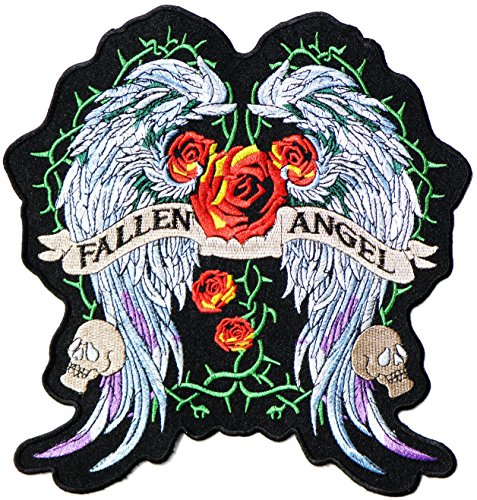 Diy Fallen Angel Costume (9.5 XXL Big Jumbo Large FALLEN ANGEL Wings Red Rose Lady Rider Biker Logo Back Motorcycles Jacket T-shirt Patch Sew Iron on Embroidered Sign Badge Costume)