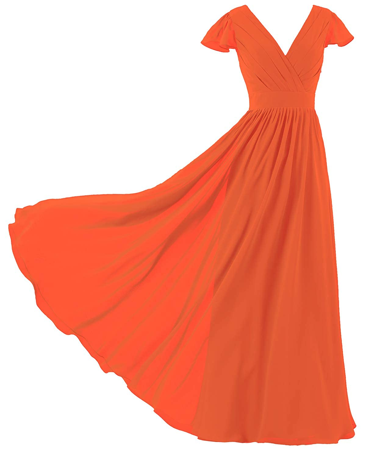 ZAXANTS Womens V Neck Cap Sleeve Bridesmaid Dresses Long Evening Gown