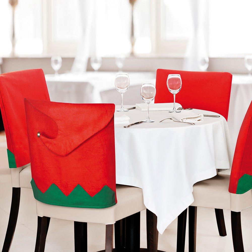 eBuyGB® paquete de 6 Santa sombrero comedor cubiertas de la silla ...