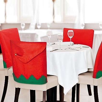eBuyGB Elfo Silla de Comedor Covers-Christmas Fiesta de Navidad Cena ...