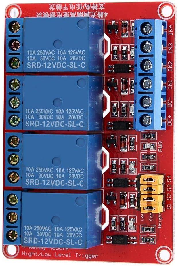 Módulo de relé de 4 canales de 5V / 12V / 24V, placa de módulo de relé optoacoplador de disparo alto y bajo para Arduino(12V)