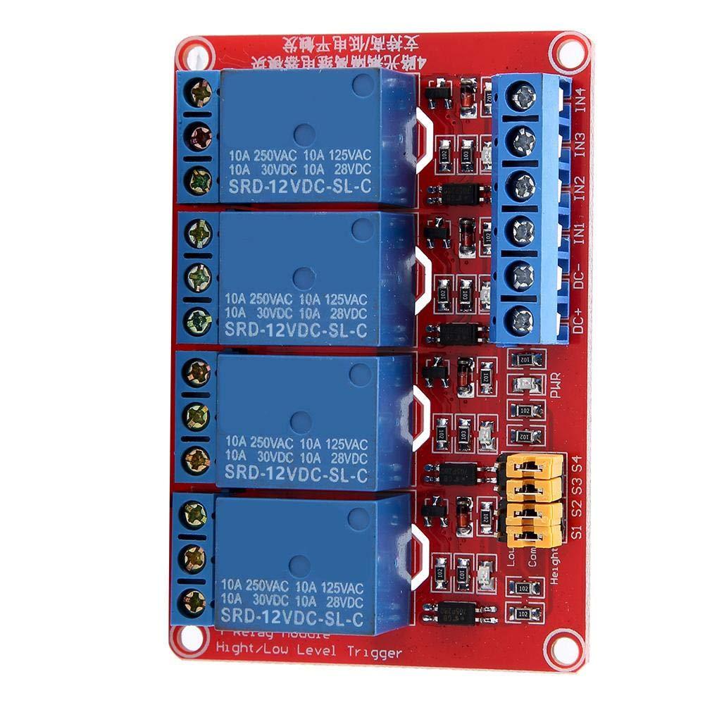 Tablero de relais, Keenso Módulo de relé de 4 canales con optoacoplador Tarjeta de expansión de disparo de bajo nivel para Arduino 5V / 12V / 24V(12V)