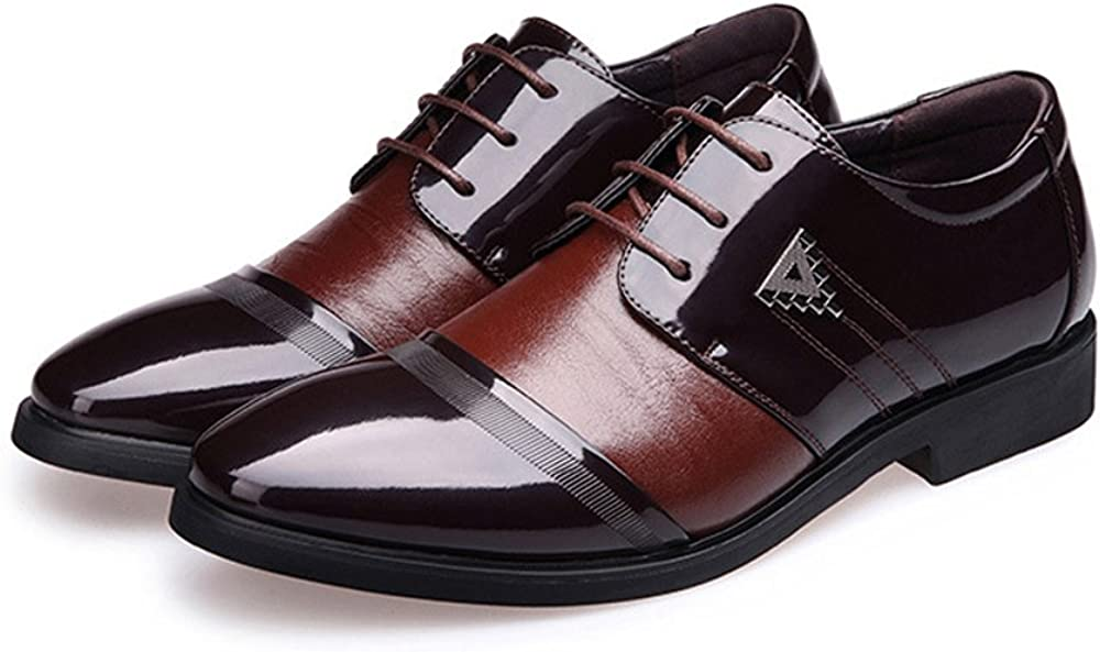 MXL Mens Business Shoes Smooth PU Leather Splice Vamp Lace Up Lined Block Heel Driving Shoes