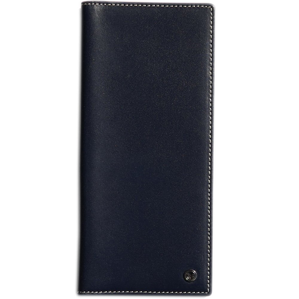 Pacer Go RFID Blocking Slim Minimalist Long Travel Wallet Genuine Leather Passport Holder Travel Cover with Passport Holder Slot, Cash Slot, Card Slot, Boarding Pass (Dark Blue)