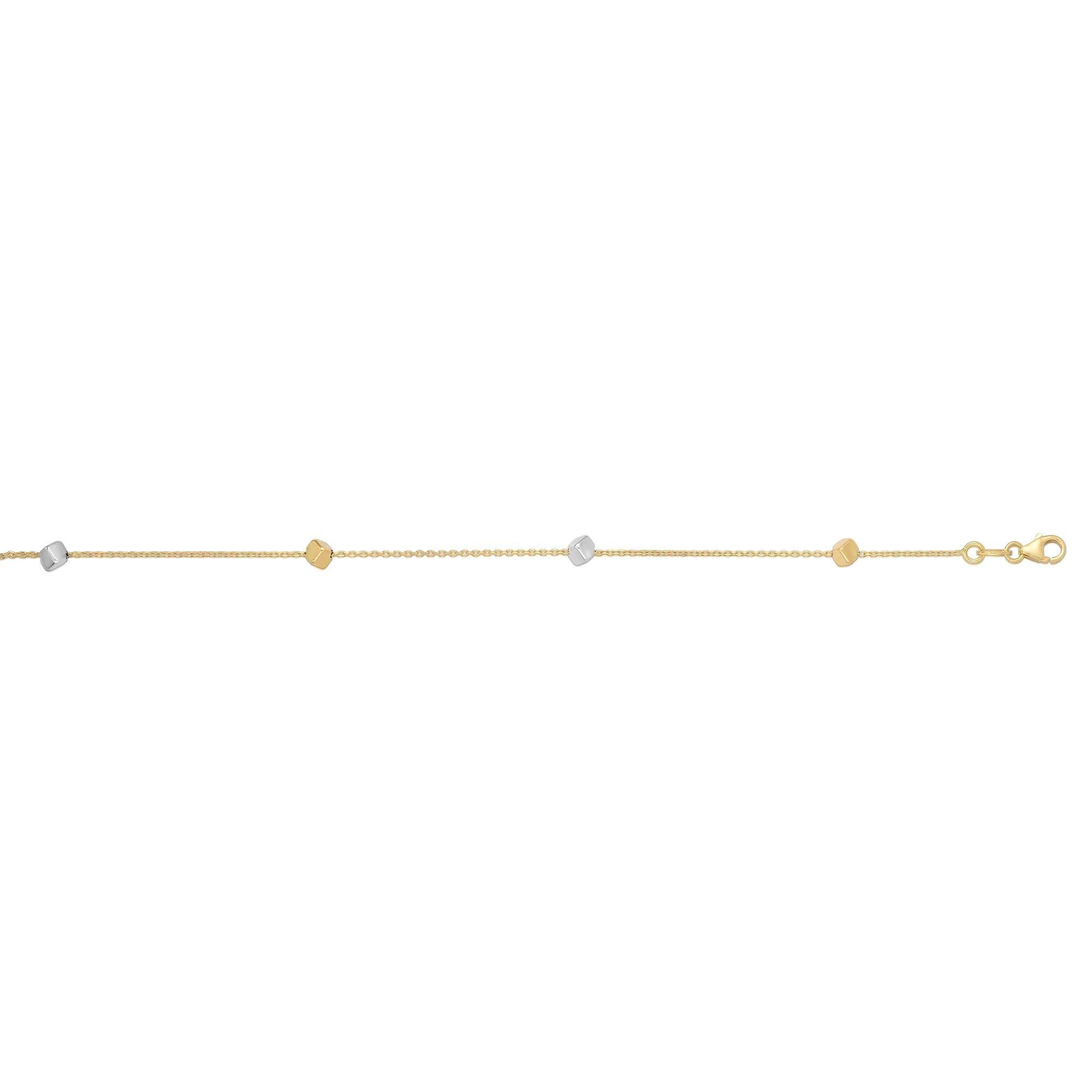 14k Yellow and White Gold Two-Tone Cube Bead Station Necklace, 17 Inches