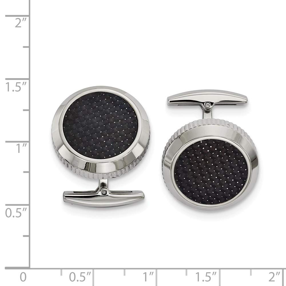 FB Jewels Solid Stainless Steel Polished Black Carbon Fiber Inlay Cuff Links