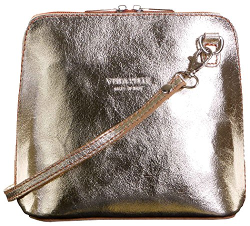 Italian Leather, Metallic Gold Small/Micro Cross Body Bag or Shoulder Bag Handbag. Includes Branded a Protective Storage Bag. (Leather Women Italian Shoes)